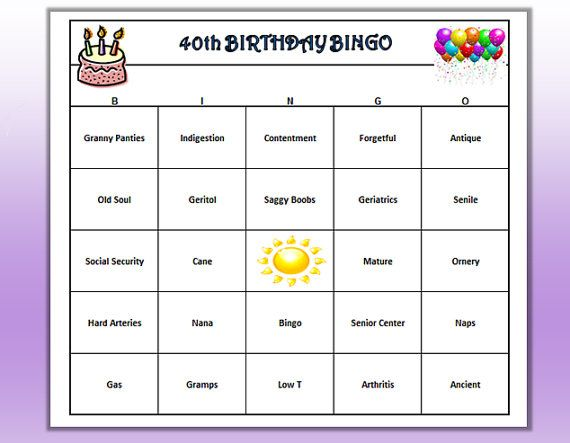 40th Birthday Party BINGO Game Very Funny Age Themed Words Easy To Play