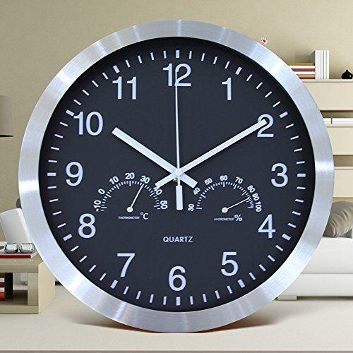 Silent Nonticking Wall Clock 12 Inch Battery Powerd Clock With Temperature Humidity Hygrometer Quartz Clock Metal Frame And Acr Wall Clock Quartz Clock Clock