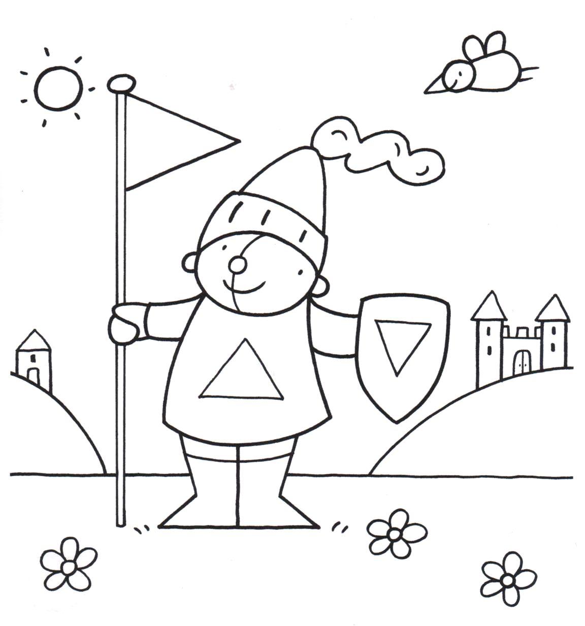 kleurplaat pompom ridder driehoeken kleurplaten