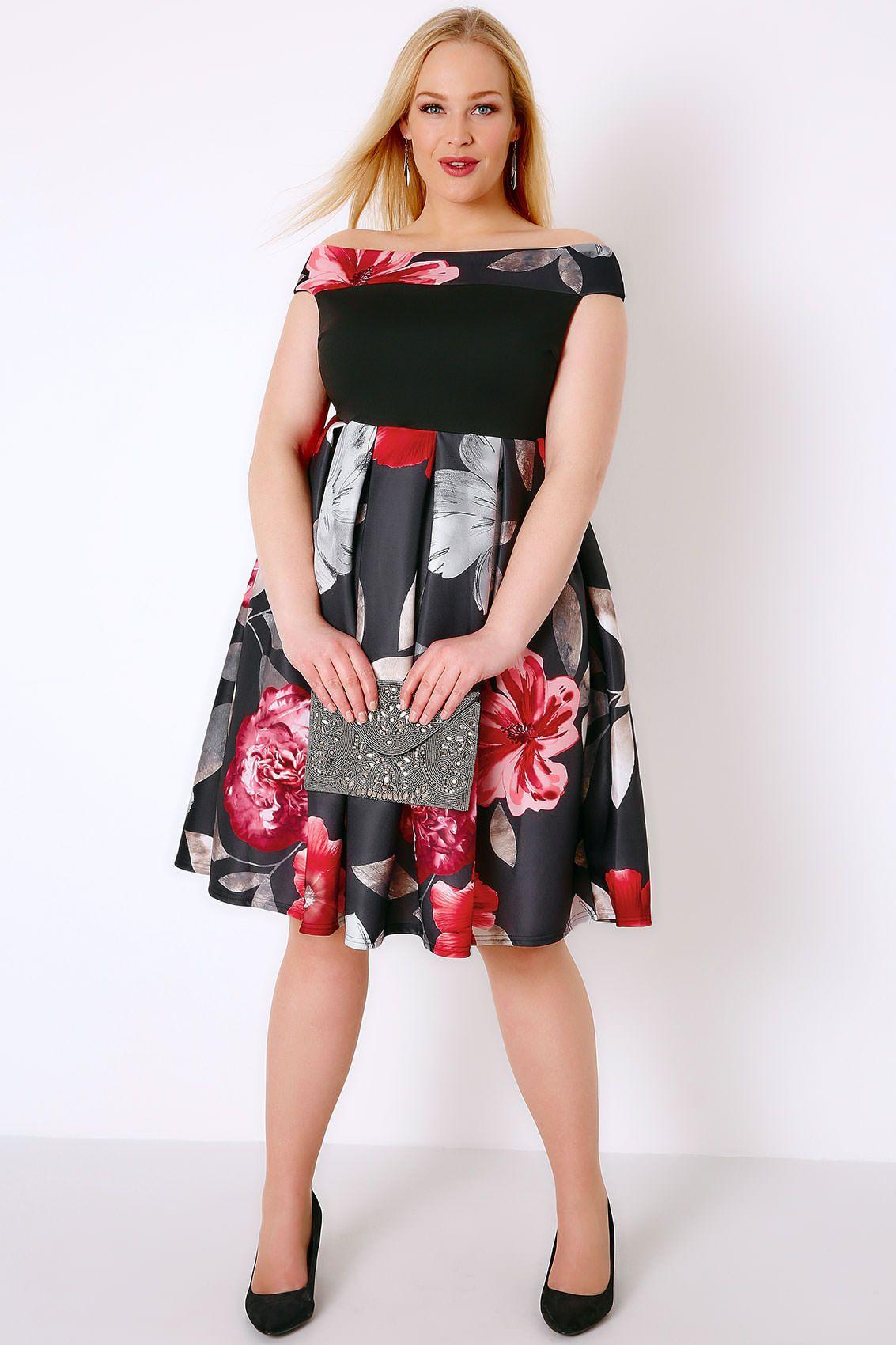 Black red floral bardot skater dress plus size skater