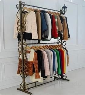 Wrought Iron Clothes Rack Display Shelf Indoor Hanger Embly