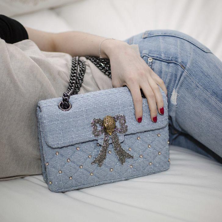 47d0b9ed9ec Tweed Kensington Bag Blue Shoulder Bag By Kurt Geiger London | Kurt Geiger
