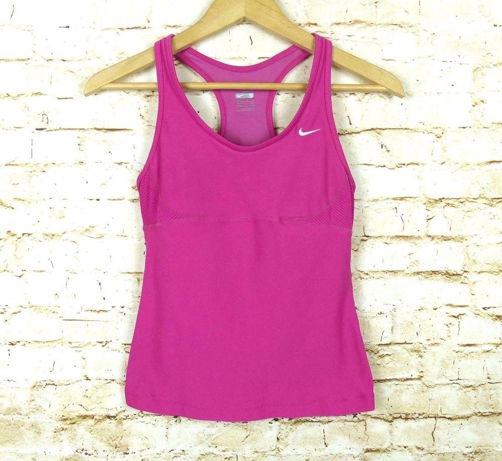 Nike drifit womens sz s pink shelf bra racerback athletic