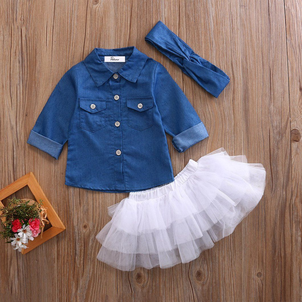 76e4db05cc4 Arabella Denim Top Tutu Skirt Set