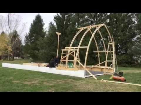 Bow roof boat shed with Gothic arch truss time lapse part 1: Sea