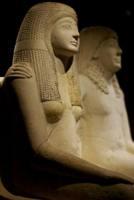 Statuary group representing the scribe Pendua and his wife Nefertari (limestone) found Deir el-Medina, Egypt.