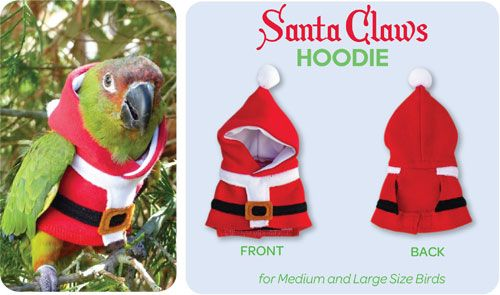 """Santa """"Claws"""" Hoodie and a bunch of other non-seasonal pieces for your bird"""