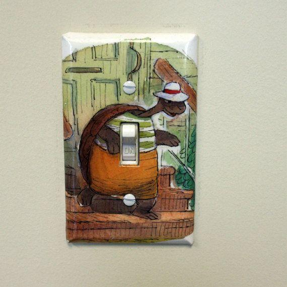 Children Book Light Switch Cover  Happy by ColorMeFabricbyNikki.