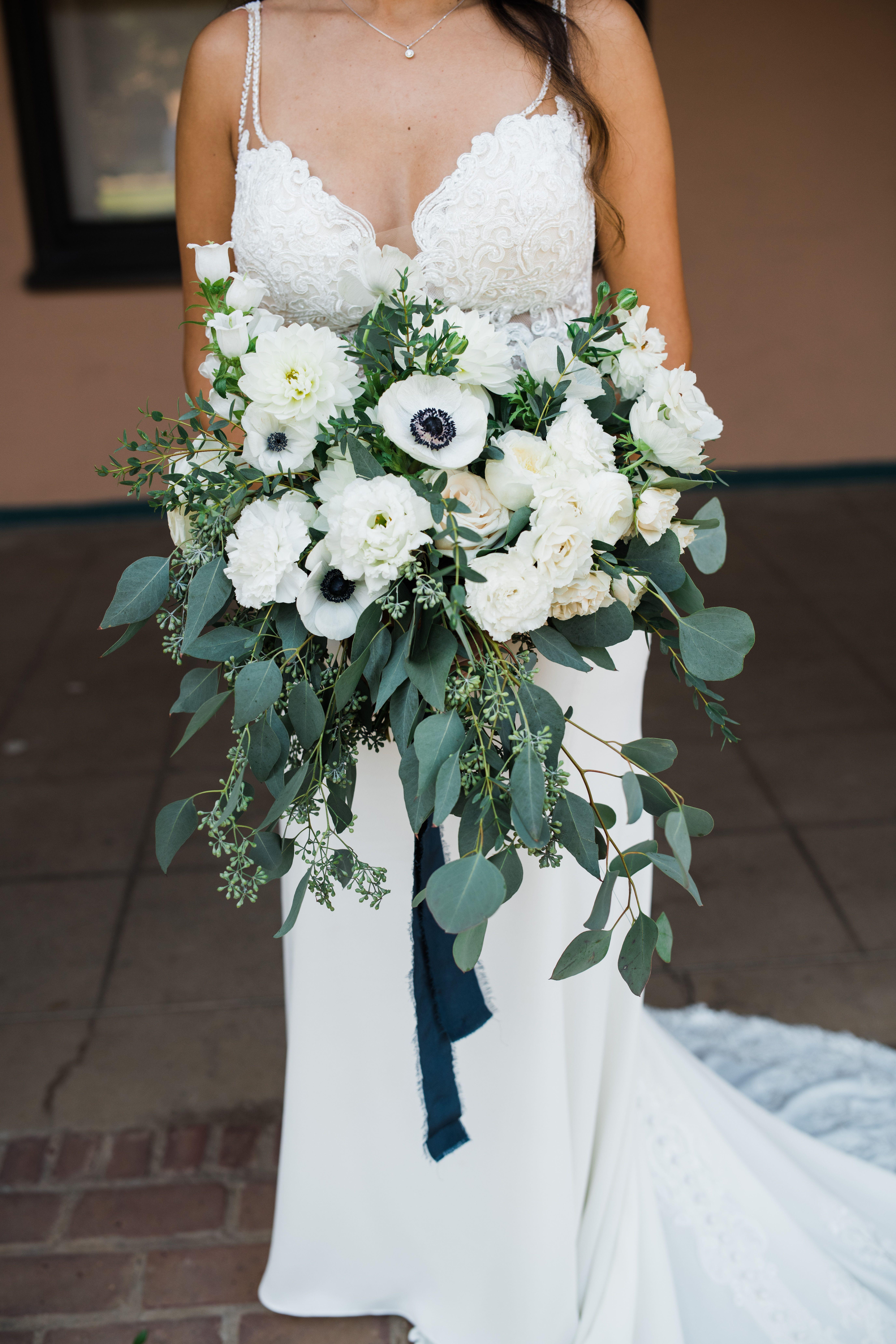 Cascading White Eucalyptus Bridal Bouquet Cascading Wedding Bouquets Bridesmaid Bouquet White White Bridal Bouquet