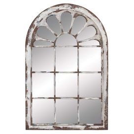 "Distressed wall mirror with a window pane-inspired designProduct: Wall mirrorConstruction Material: Metal and mirrored glassColor: Distressed whiteDimensions: 52"" H x 34"" W x 2"" D"