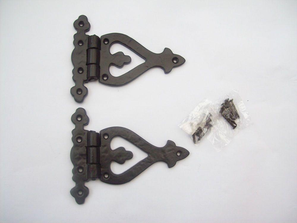 cottage suffolk latch PAIR of cast iron vintage ARROW HEAD  door t tee hinges