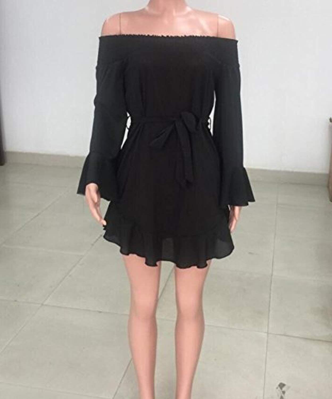 c51cdb8c42b DUBACH Womens Off Shoulder Flared Drop Hem Tied Casual Dress Black, Small at  Amazon Women's Clothing store: