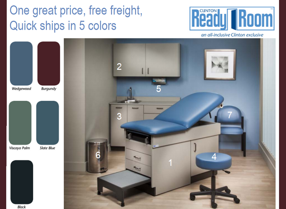 The clinton ready room features 7 typical items needed for for Medical design consultancy