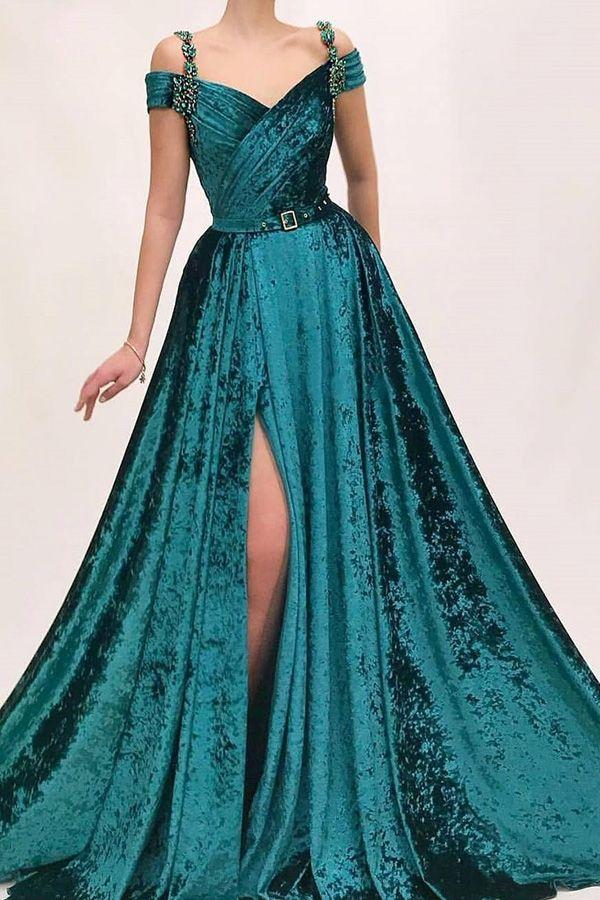 [153.50] Fashionable Fleece Off-the-shoulder Neckline Floor-length A-line Evening Dresses With Beadings & Belt - laurenbridal.co