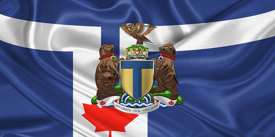 Fine Art Print: Coat of Arms of Toronto over Flag of City of Toronto by Serge Averbukh via FineArt America....