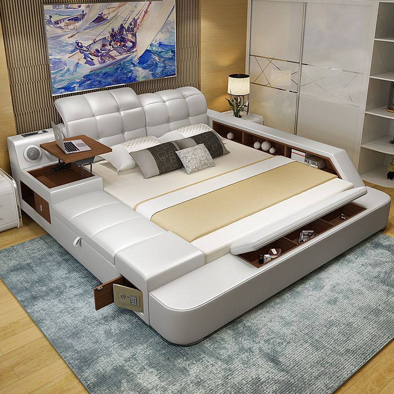 Leather Bed Tatami Bed Double Bed 1 8 M Leather Bed Simple Modern