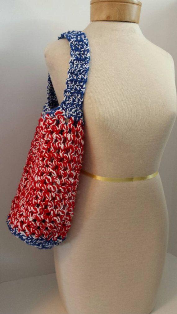 Crochet reusable shopping bag market tote by JSoDetCrochet on Etsy