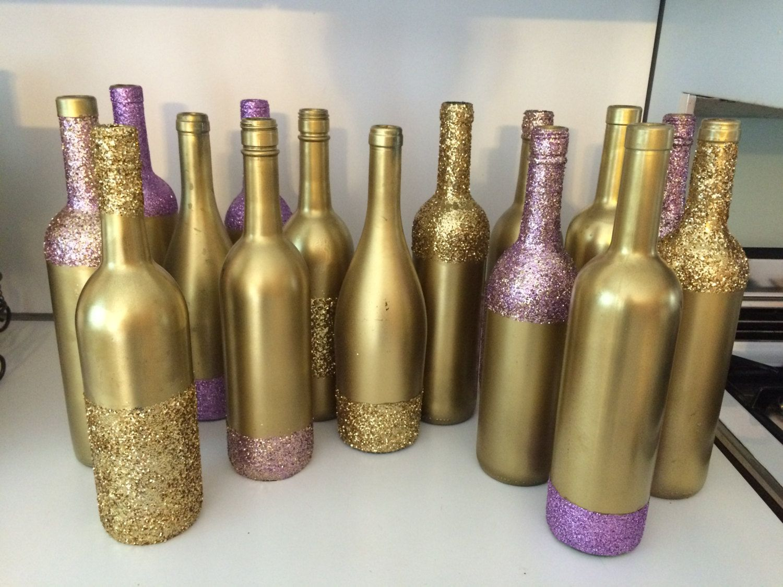 Set of 3 glitter gold purple mix wine bottles decorative for Gold wine bottle centerpieces