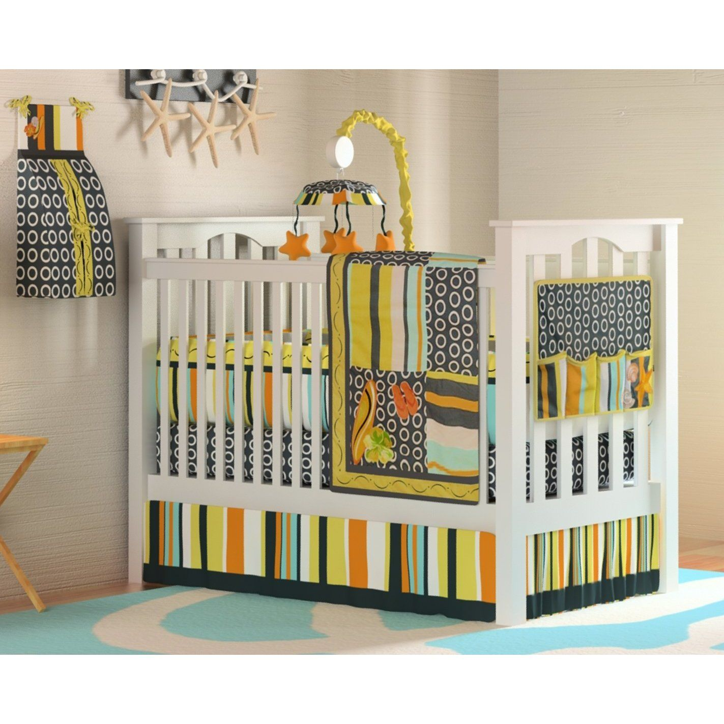 Amazon 10pc Beach Surf Baby Crib Bedding Set