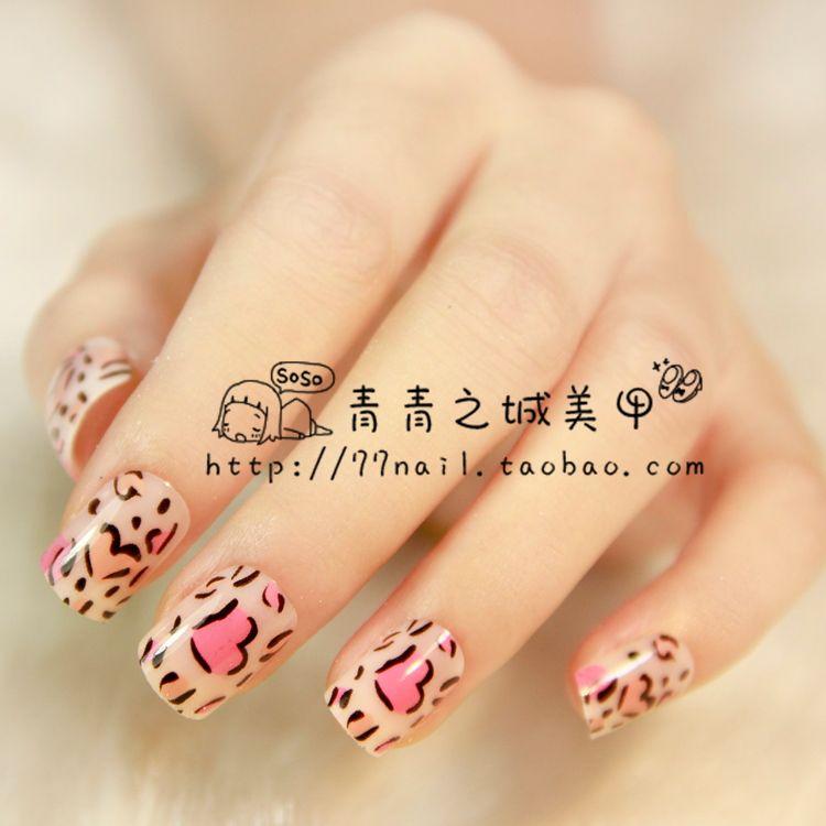 Aliexpress.com : Buy New 2013 Cute Pink leopard print fake nails ...