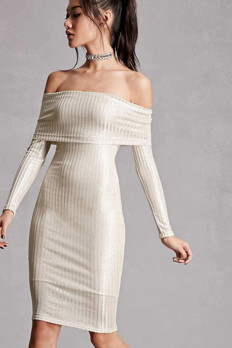 deea83e5bf85 A ribbed knit metallic dress featuring an off-the-shoulder fold-over  neckline, long sleeves, soft knit underlay, and a bodycon silhouette.