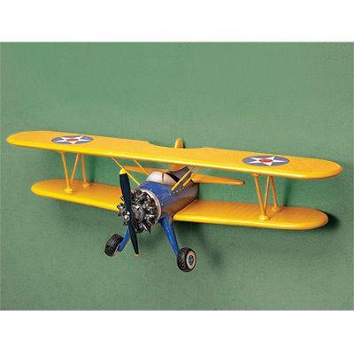 Biplane Shelf Sporty S Wright Bros Airplane Decor Aviation Decor Kids Interior Room