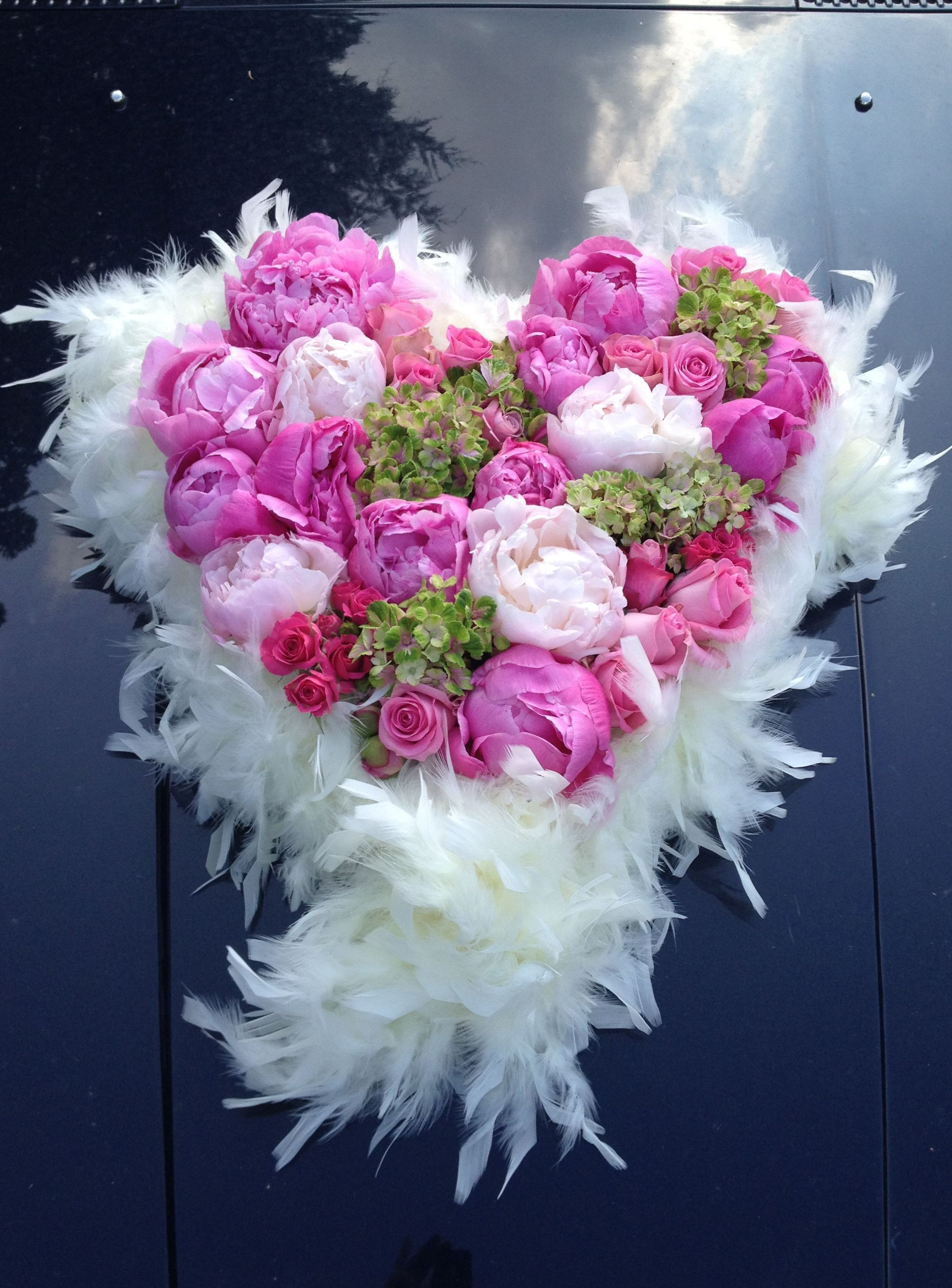 Wedding car decoration with pink peonies,roses, hydrangea and white ...