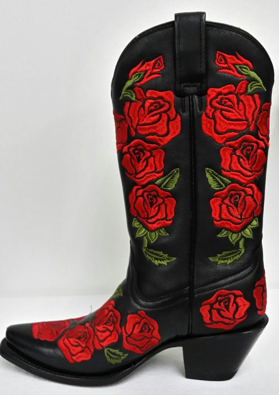 0de1f34da57 Corral Boots Black-Red Rose Embroidery by Seventystore on Etsy ...