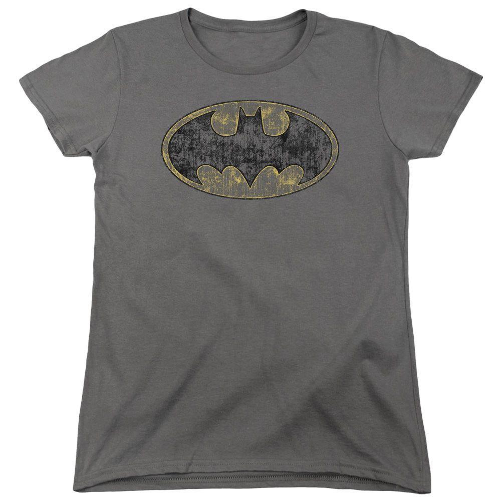Batman Tattered Logo Charcoal Womens T-Shirt