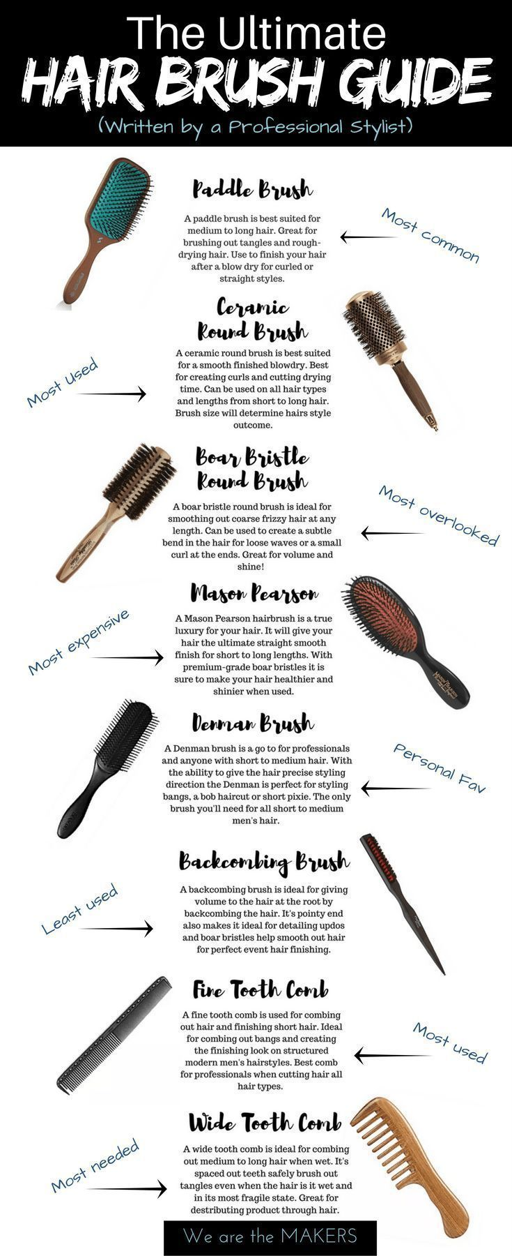 the ultimate hair brush guide | hair remedies | best hair