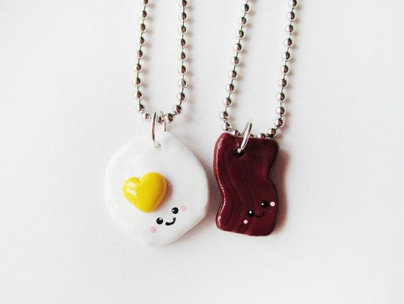 Bacon and Eggs Best Friend Necklace Set  Polymer by MadAristocrat, $26.00