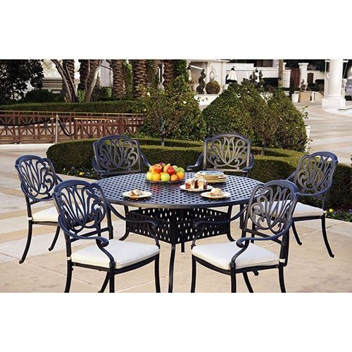 Sicily 7 Piece Dining Set with Seat Cushions 60 Inch Round Dining