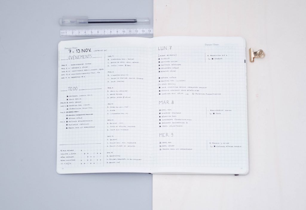 minimal bullet journal weekly layout with a food log and trackers section