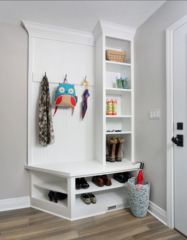 Beautiful Corner Hallway Storage