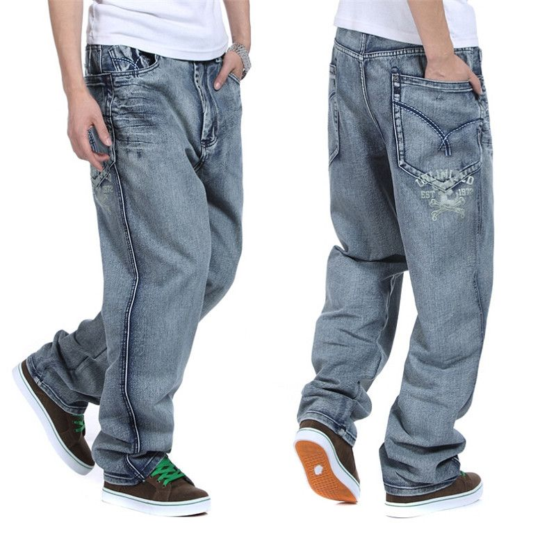36731974f20 Click to Buy    European And American Mens Baggy Jeans Big Size 30 32 34 36  38 40 42 44 46 Boy Skateboard Men Rap Hiphop Jeans Loose  Affiliate