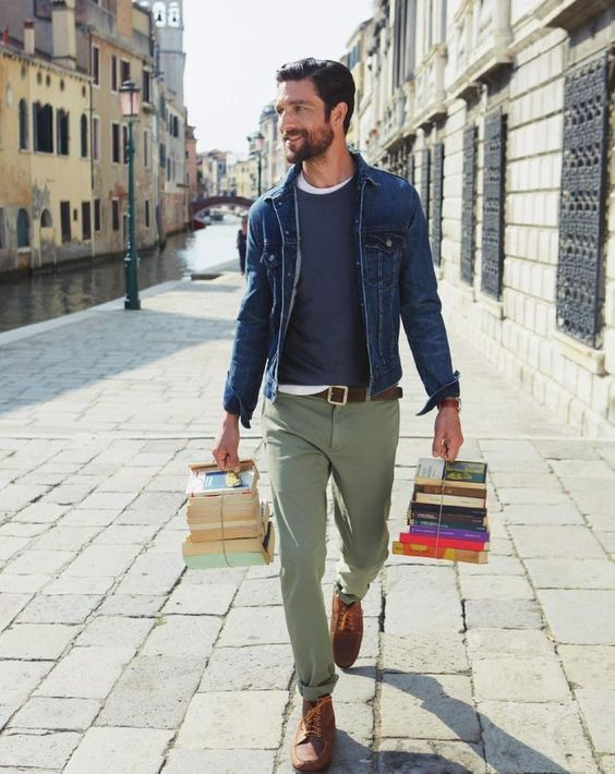 Olive Green Pants A Denim Jacket And A Blue Long Sleeve Brown Shoes Mens Outfits Mens Fashion Fall Autumn Fashion Casual