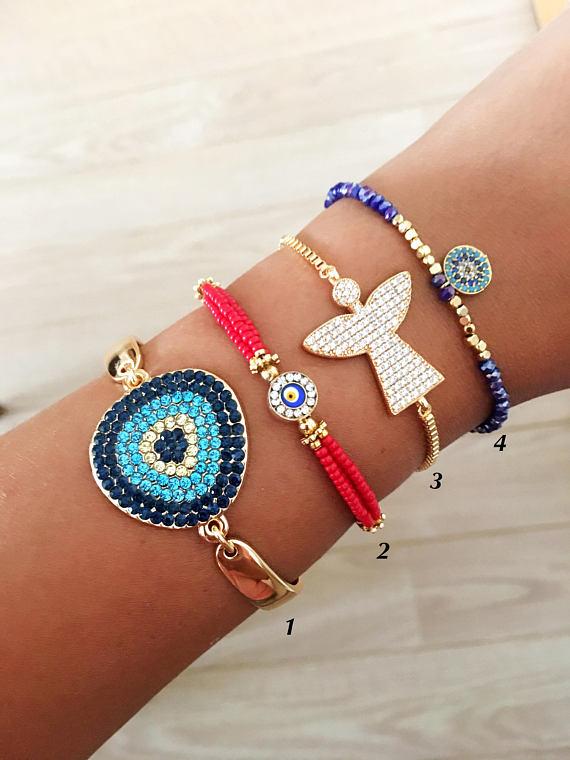 Adjustable bracelet, evil eye bracelet, gold bracelet, seed beads bracelet, evil eye charm bracelet, evil eye jewelry collection, red miyuki – bijoux