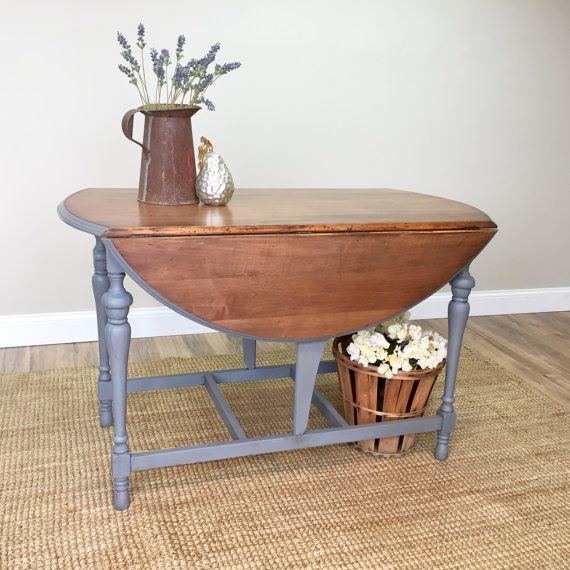 Round Drop Leaf Table Wooden Dining Table Country Cottage