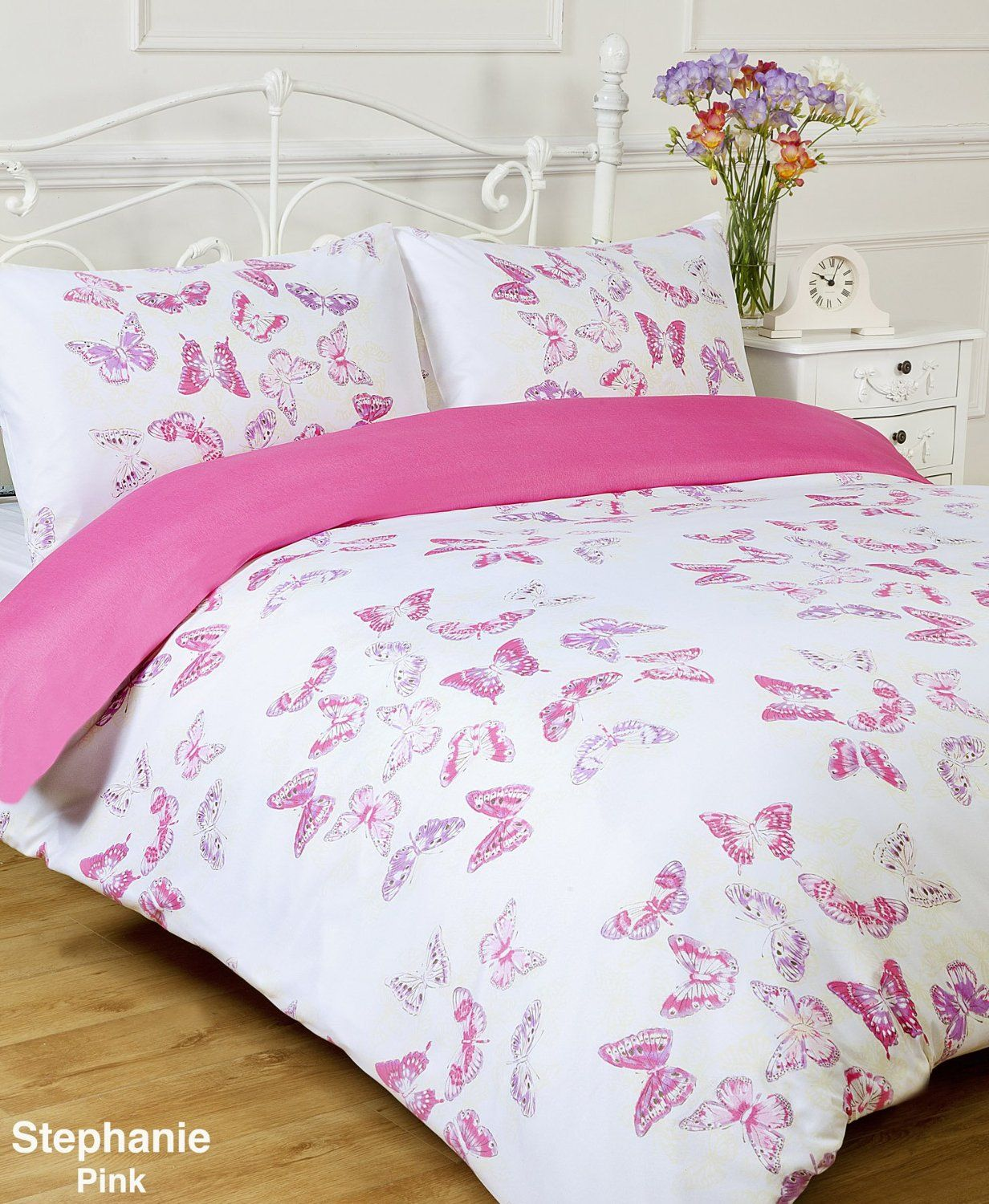 Stephanie Reversible Pink / White Butterfly Single Bed Size Duvet ... : single bed quilt cover size - Adamdwight.com