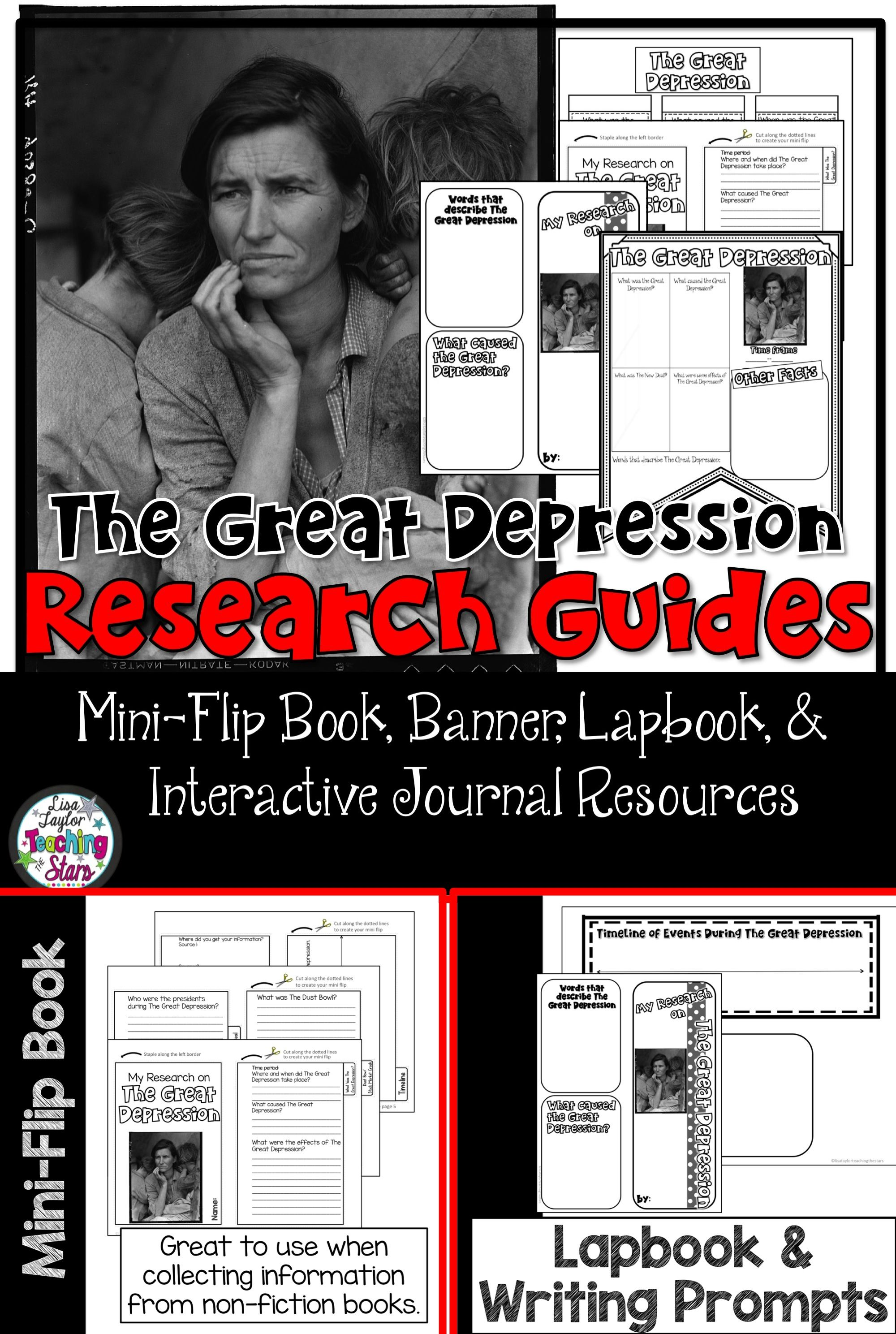 the great depression research interactive journals social the great depression research guides includes mini book lapbook banner writing paper