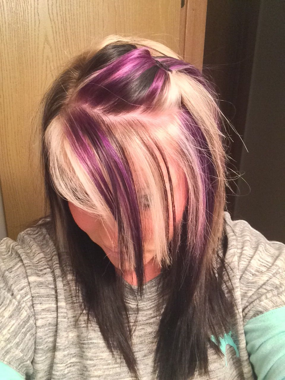 Purple Blonde And Black On Top With All Black Underneath With