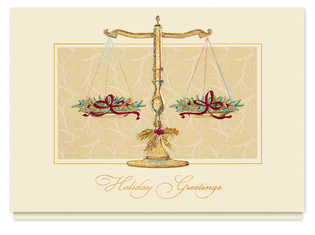 Scales of Justice Greetings Card | Business christmas cards ...