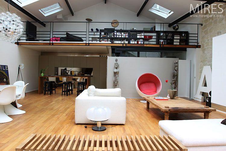 déco mezzanine loft | grange aménagée loft | Pinterest | Mezzanine ...
