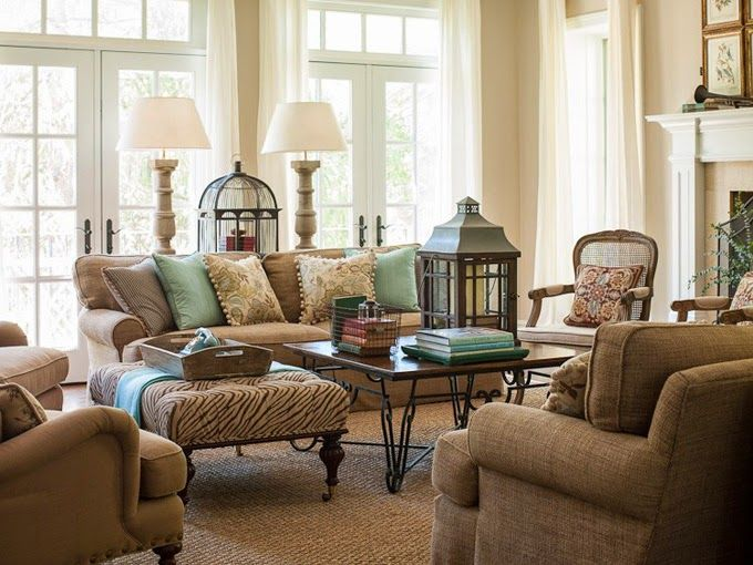 Tan and turquoise living room in the washington dc home of - Brown and aqua living room pictures ...