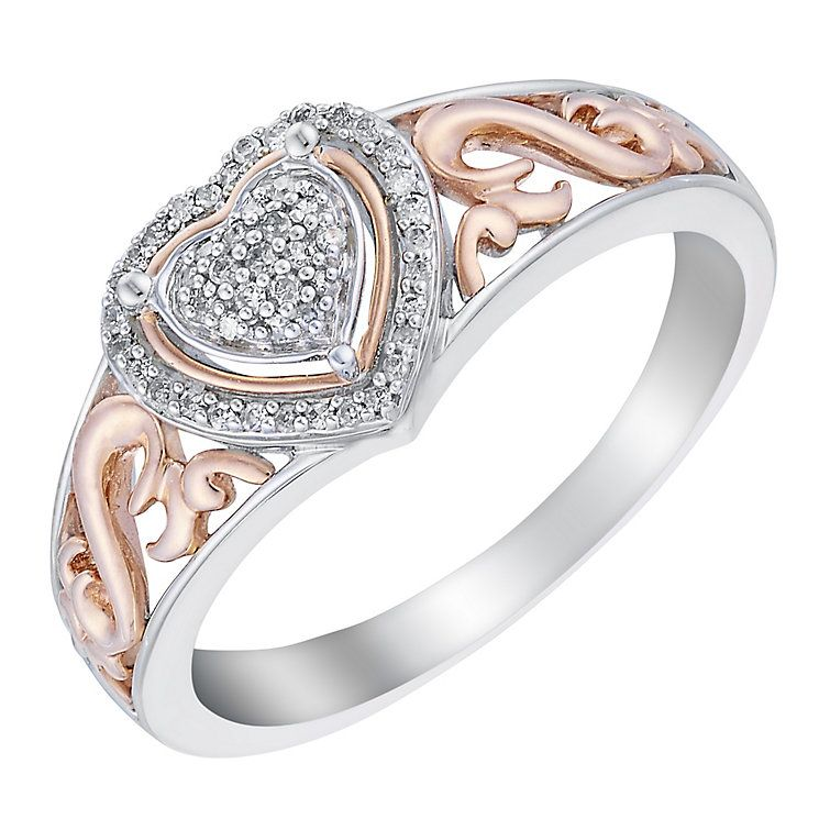 Open Hearts By Jane Seymour Silver Rose Gold Diamond Ring H Samuel The Jeweller Heart Shaped Diamond Rose Gold Diamond Ring Rose Gold Diamonds