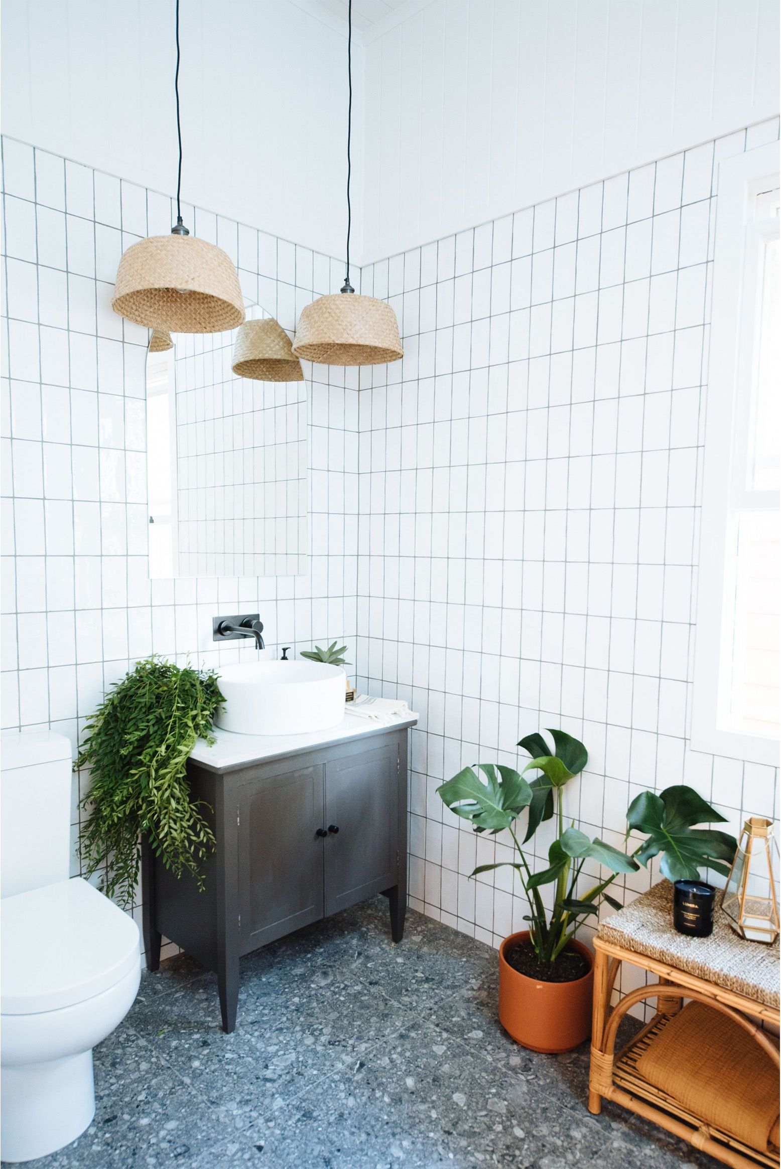 Diy Basket Pendant Lights An Ikea Hack Vintage Bathroom