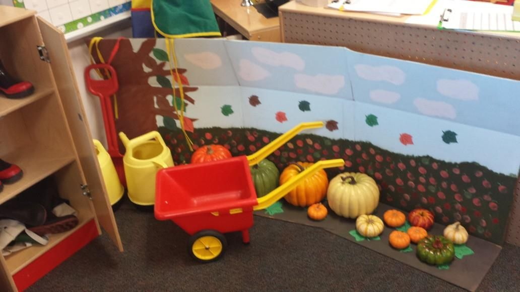 "Preschool Dramatic Play - Cardboard box painted to look like a pumpkin patch. Real and fake pumpkins on the ""ground"" that kids can water and pick. There are rubber boots, gardening aprons and tools, a shovel, wheelbarrow, and watering cans. There is also a table with chairs in the back that children can use as well. Add laves to the ground and a rake at some point. Later it will turn into the store where they can buy and sell pumpkins and pumpkin treats."