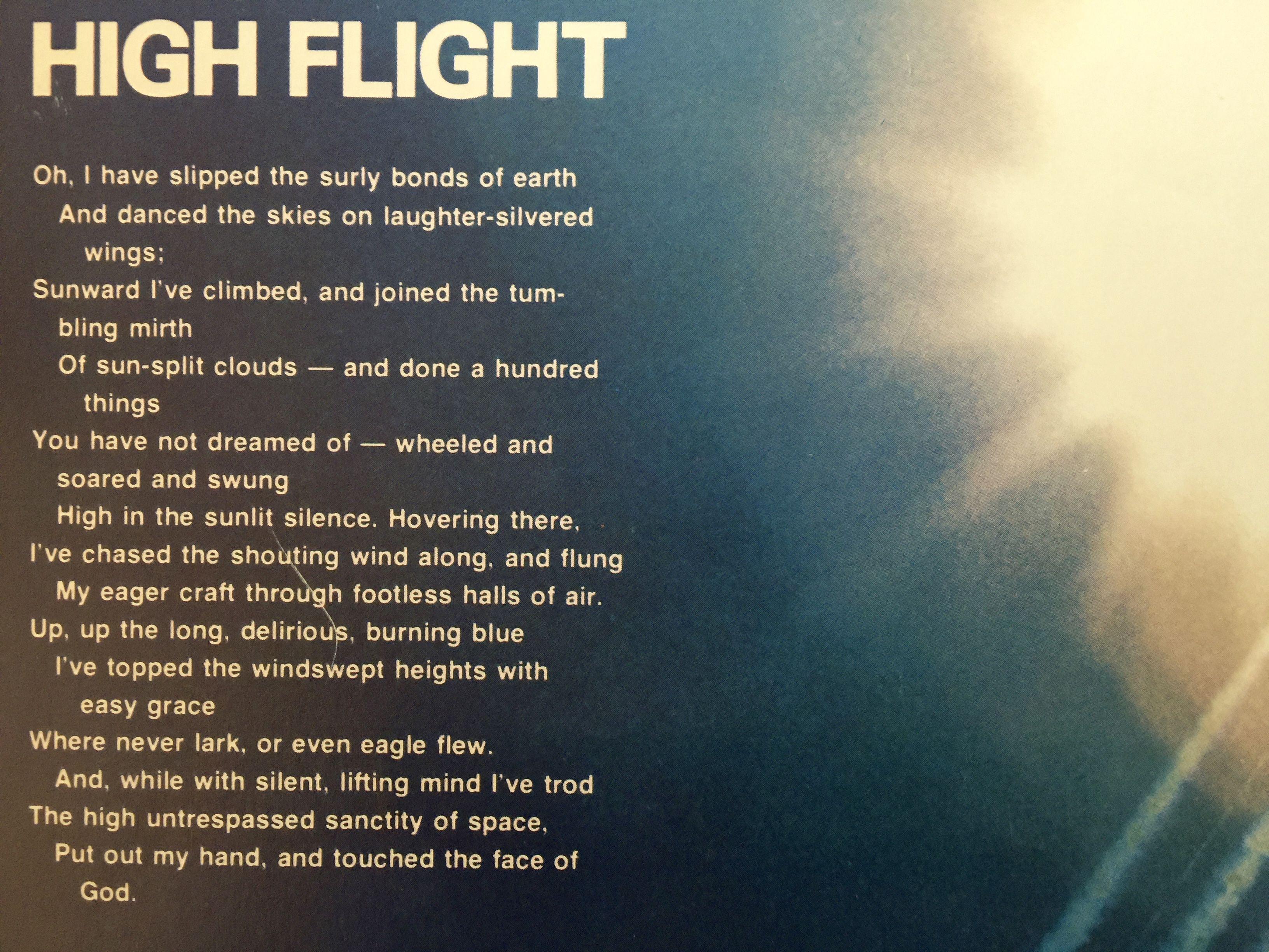 High Flight A Poem By Pilot John Gillespie Magee Jr