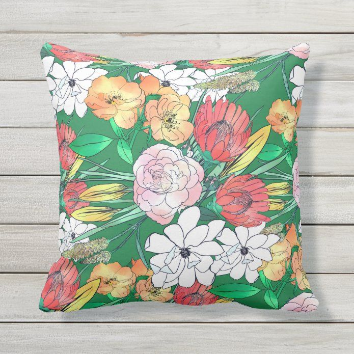 Colorful Hand Drawn Flowers Green Girly Design Outdoor Pillow