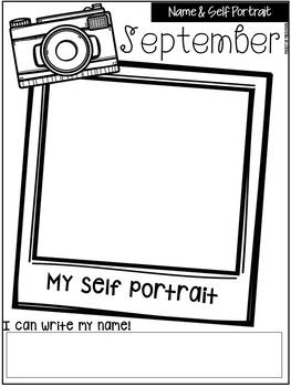 Monthly Self Portraits and Name Samples for Preschool, Pre